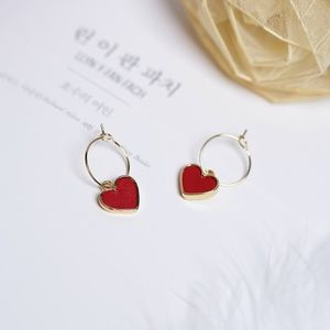 Red Leather Heart Pendant Hoop Earrings - NIP